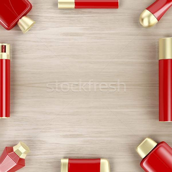 Cosmético produtos mesa de madeira conjunto topo ver Foto stock © magraphics