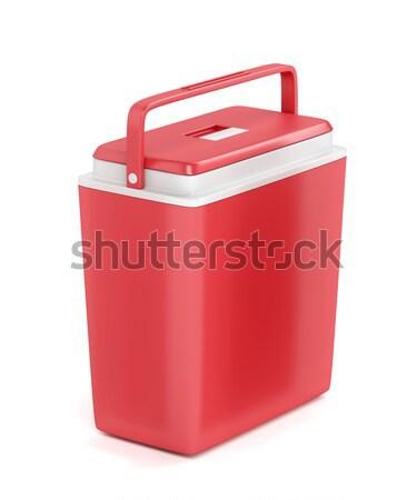 Rood draagbaar koelkast witte bier reizen Stockfoto © magraphics
