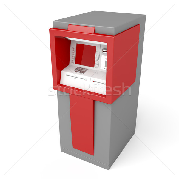 3d illustration atm blanche technologie écran rouge Photo stock © magraphics