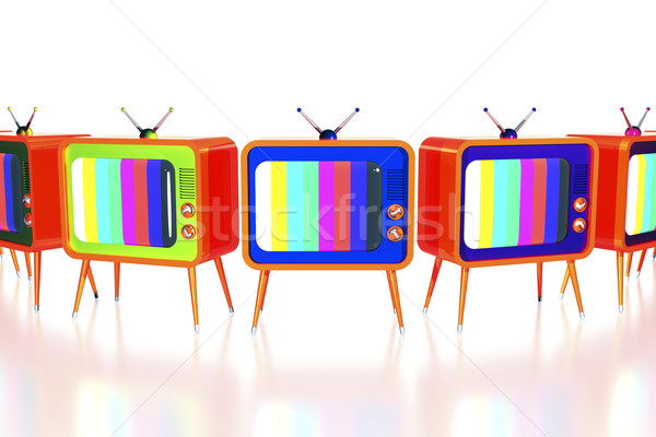 Orange retro tv's Stock photo © magraphics