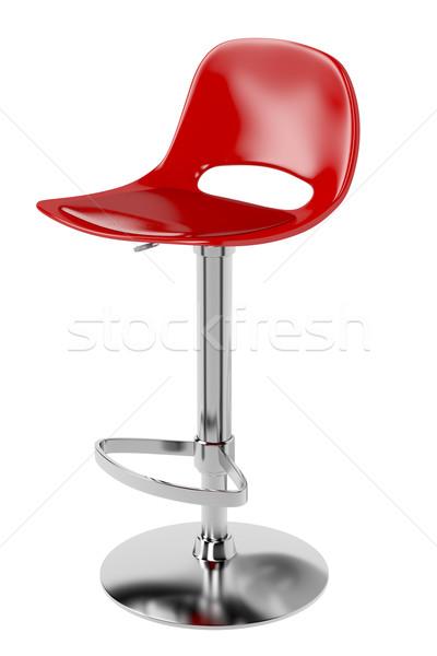 Бар стул изолированный белый красный дизайна Сток-фото © magraphics