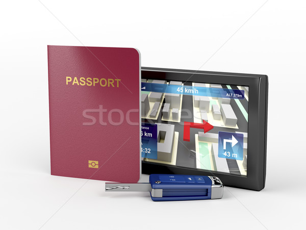 Passport, car key and navigation device Stock photo © magraphics