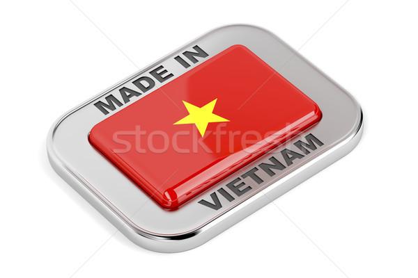 Foto stock: Vietnã · brilhante · distintivo · prata · bandeira · assinar