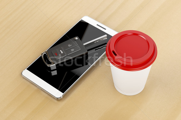 Smartphone, car key and coffee  Stock photo © magraphics