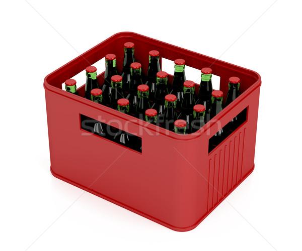 Láda tele sör üvegek világos sör fehér Stock fotó © magraphics