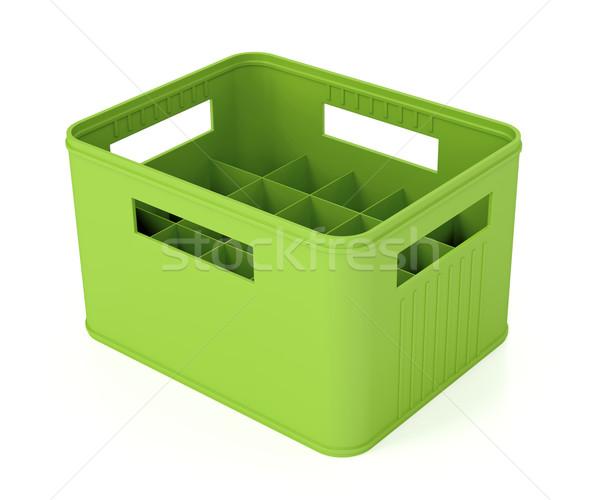 Zöld sör láda műanyag fehér üveg Stock fotó © magraphics