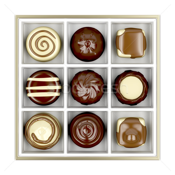 Box with chocolate candies Stock photo © magraphics