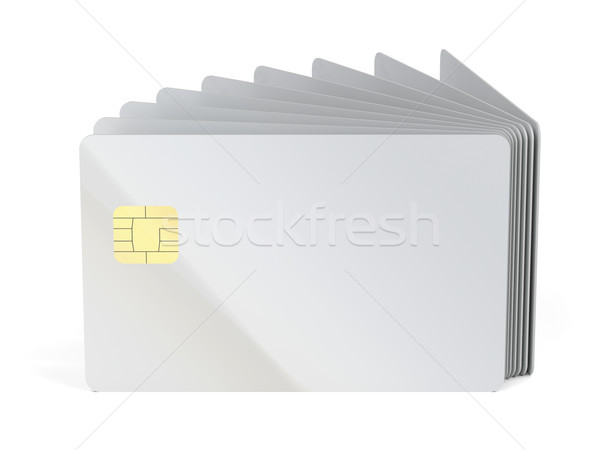 Many blank plastic cards with chip Stock photo © magraphics