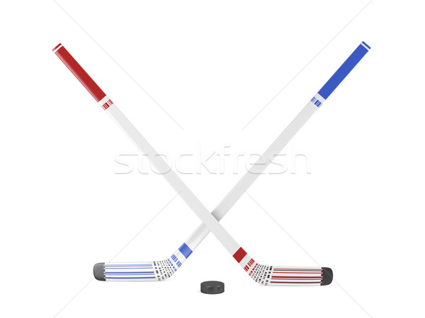 Ice hockey sticks and puck Stock photo © magraphics