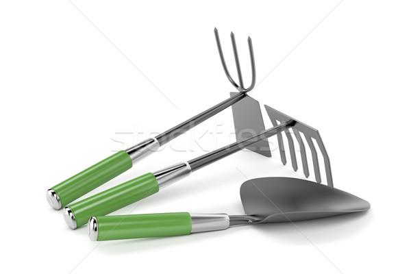 Wenig Garten Werkzeuge Rake Hacke weiß Stock foto © magraphics