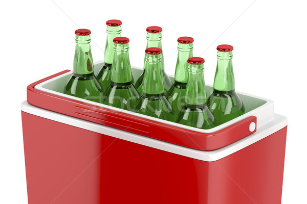 Resfriamento caixa cerveja garrafas vermelho ilustração 3d Foto stock © magraphics