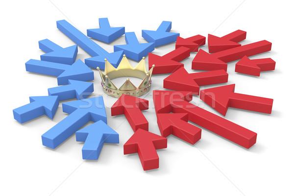 Gouden kroon pijlen politiek afbeelding wijzend Stockfoto © magraphics