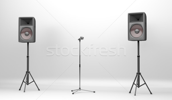 Concert fase sprekers microfoon twee groot Stockfoto © magraphics
