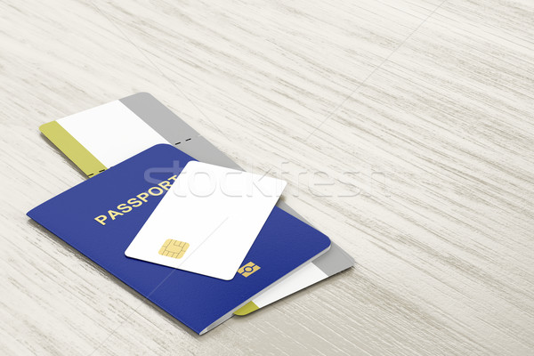 Passport, bank card and boarding pass Stock photo © magraphics