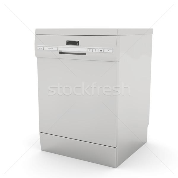 食器洗い機 白 技術 キッチン プレート 銀 ストックフォト © magraphics
