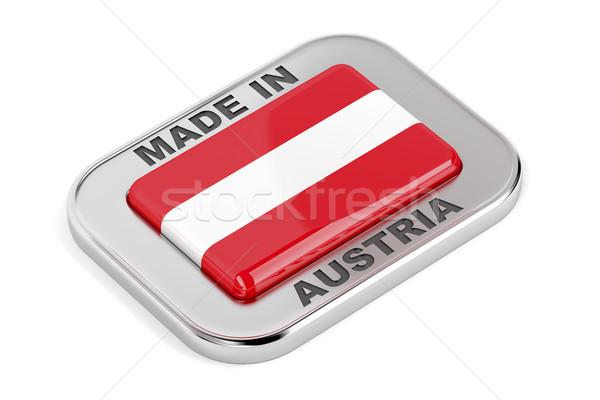 Srebrny odznakę Austria podpisania przycisk banner Zdjęcia stock © magraphics