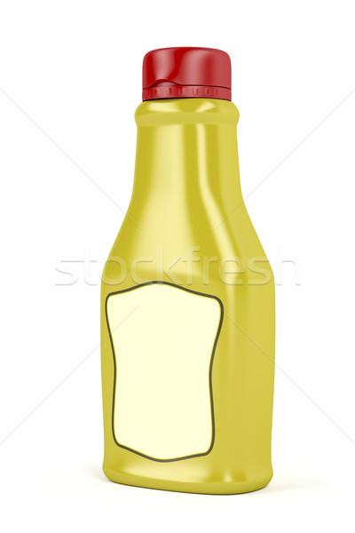 Stock fotó: Mustár · üveg · címke · fehér · műanyag · gyors