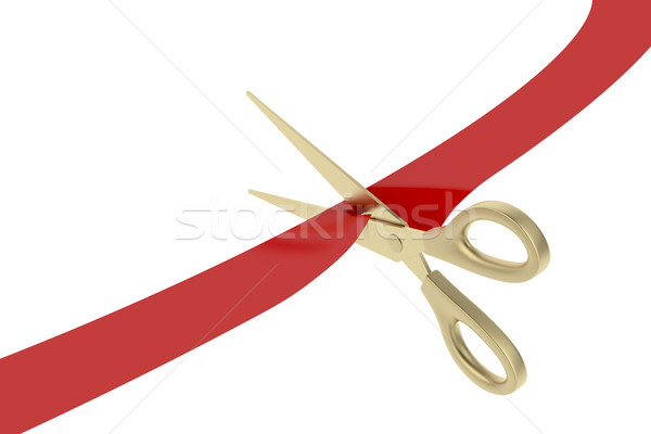Cutting red ribbon Stock photo © magraphics