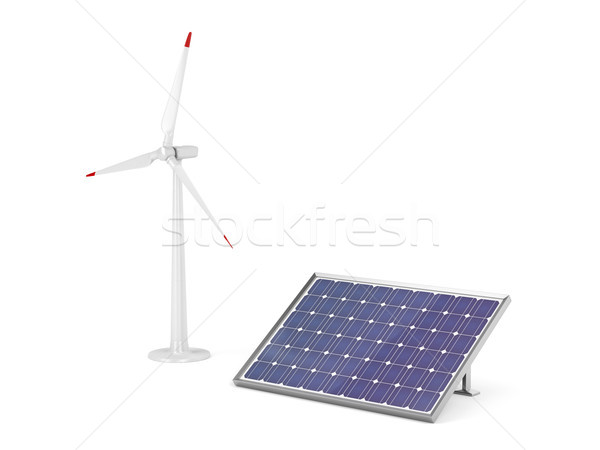 Wind turbine and solar panel  Stock photo © magraphics