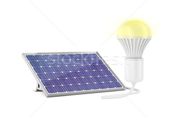 Solar panel and glowing light bulb Stock photo © magraphics