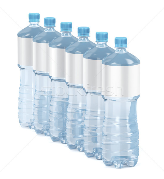 Six water bottles with blank labels Stock photo © magraphics