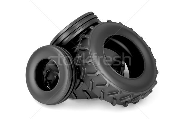 Arrière tracteur pneus blanche transport Photo stock © magraphics