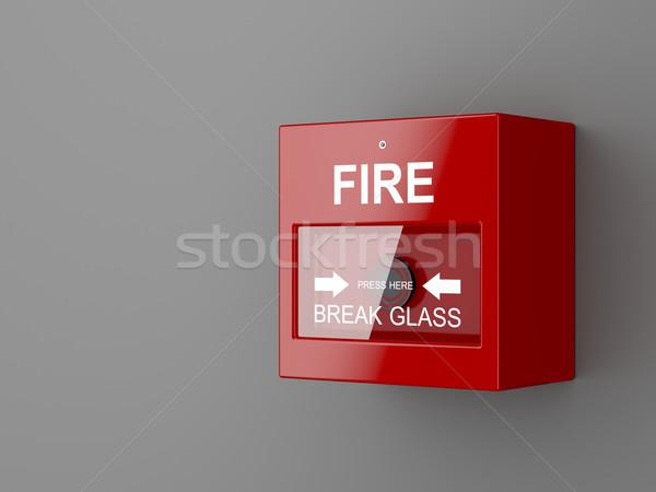 Alarma de incendiu gri perete sticlă buton siguranţă Imagine de stoc © magraphics