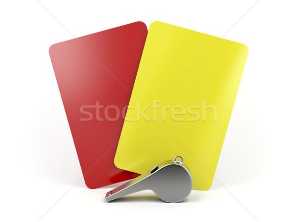 Foto stock: Futebol · árbitro · vermelho · amarelo · cartões · metal