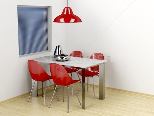 Moderne eetkamer 3d illustration meubels muur licht Stockfoto © magraphics