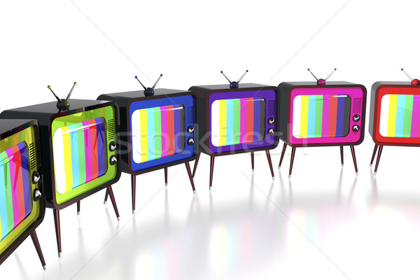 Stock photo: Colorful retro tv's