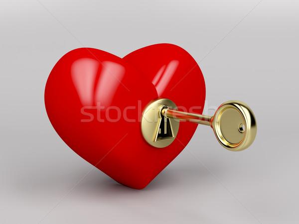 Foto stock: Vermelho · coração · ouro · chave · buraco · de · fechadura · sucesso