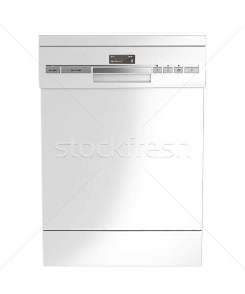 Görmek beyaz bulaşık makinesi yalıtılmış teknoloji Stok fotoğraf © magraphics