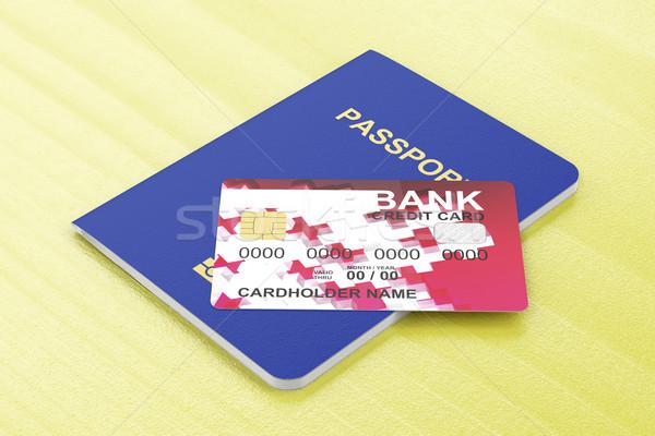 Pasaport kredi kartı tablo banka kart belge Stok fotoğraf © magraphics