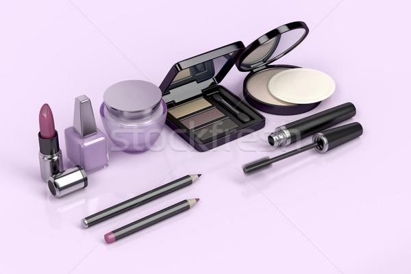 Make-up cosmético produtos conjunto brilhante rosa Foto stock © magraphics