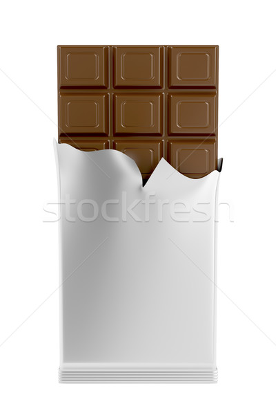 Milk chocolate bar isolated on white Stock photo © magraphics