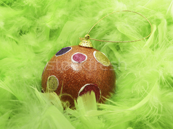 Green feathers and Christmass ball Stock photo © magraphics