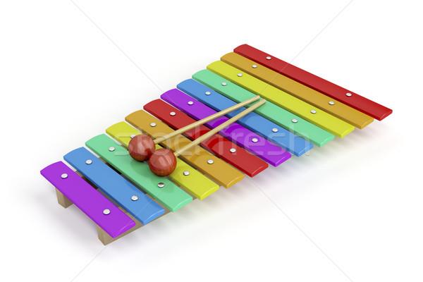 カラフル 木琴 白 木材 虹 おもちゃ ストックフォト © magraphics
