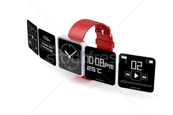 Puce regarder blanche téléphone internet temps Photo stock © magraphics