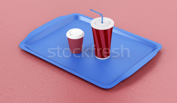 Plastic tray with coffee and soft drink Stock photo © magraphics