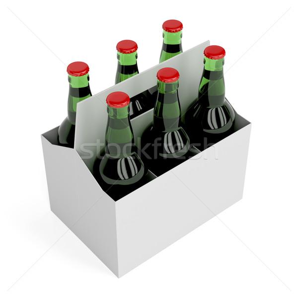 Alman birası bira şişeler altı paketlemek beyaz Stok fotoğraf © magraphics