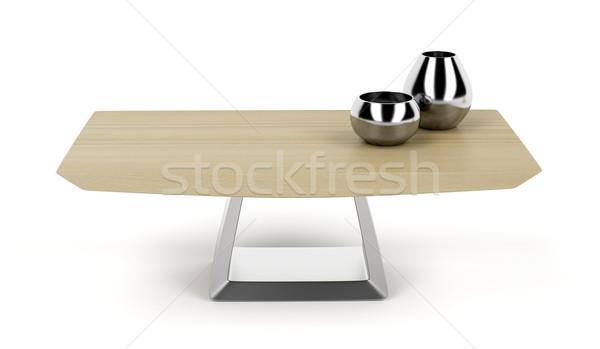 Madeira mesa de café moderno branco café projeto Foto stock © magraphics