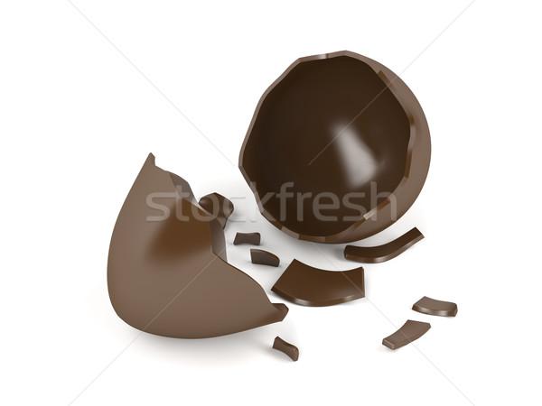 Broken chocolate egg Stock photo © magraphics
