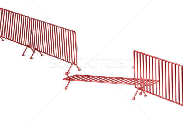 Photo stock: Brisé · foule · contrôle · clôture · métal · sécurité