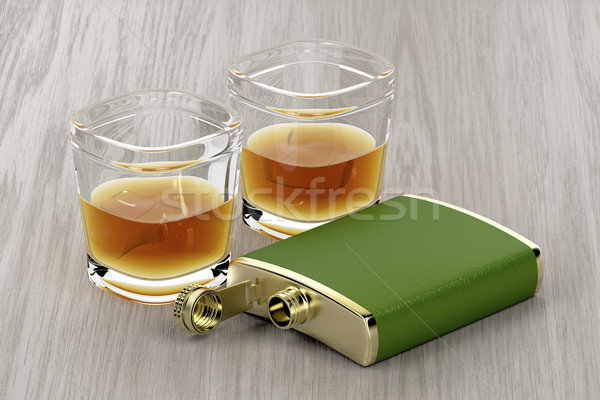 Green hip flask and glasses of whisky Stock photo © magraphics