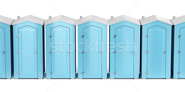 Portable plastic toilets on white Stock photo © magraphics