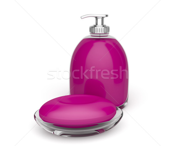 Bar of soap and liquid soap Stock photo © magraphics