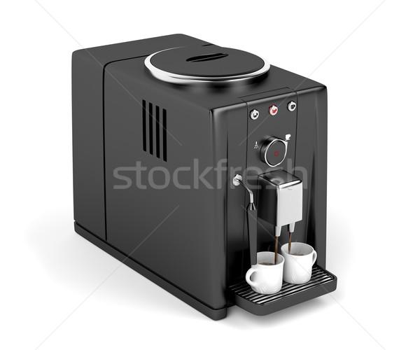 Automatikus kávéfőző áramló kettő csészék eszpresszó Stock fotó © magraphics