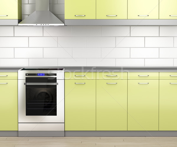 Stove and range hood in the kitchen Stock photo © magraphics