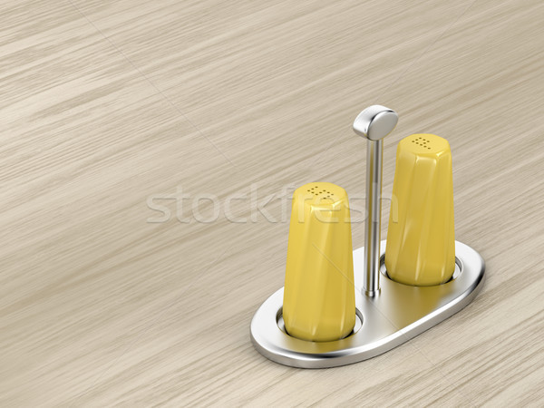 Salt and pepper shakers on silver holder Stock photo © magraphics