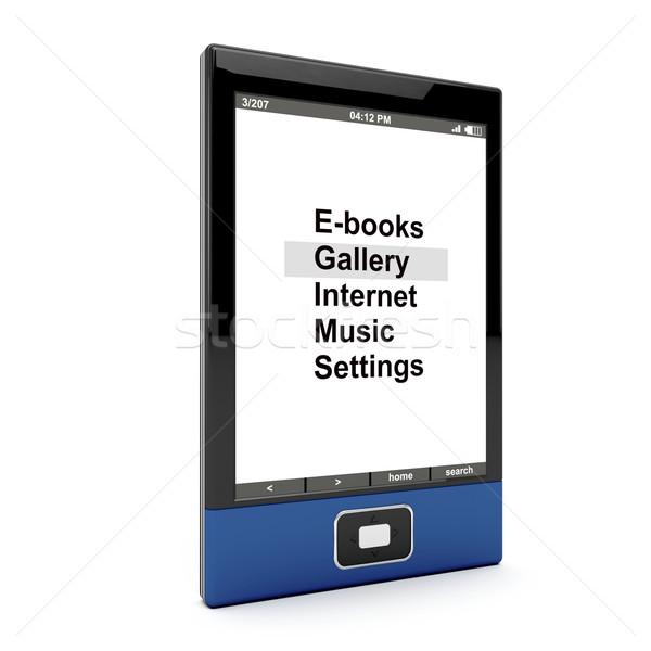 Ebook leitor branco 3D gerado imagem Foto stock © magraphics